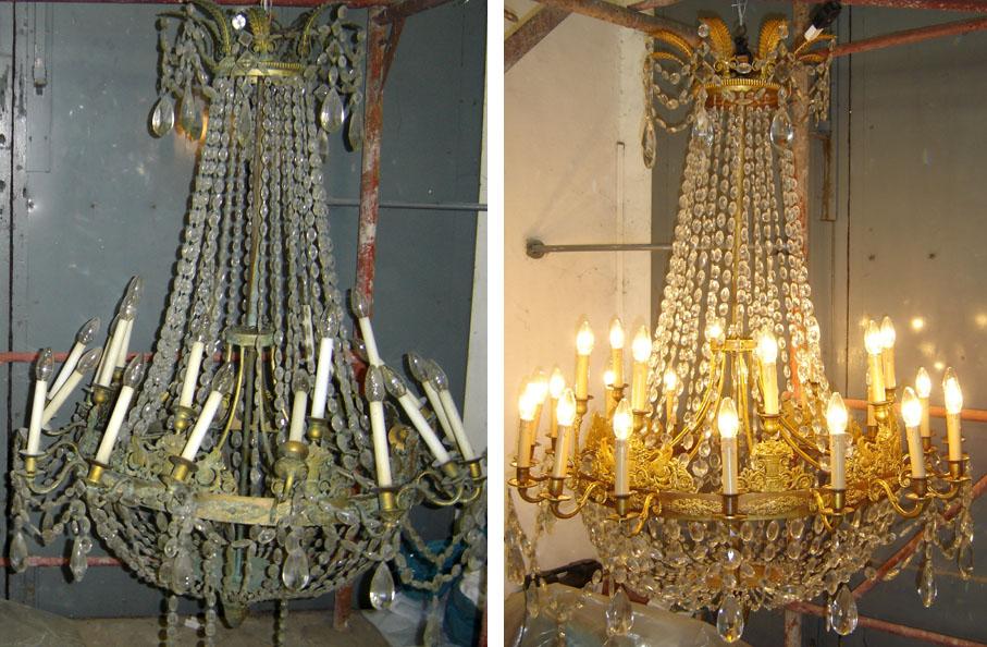 Restauro di 5 lampadari